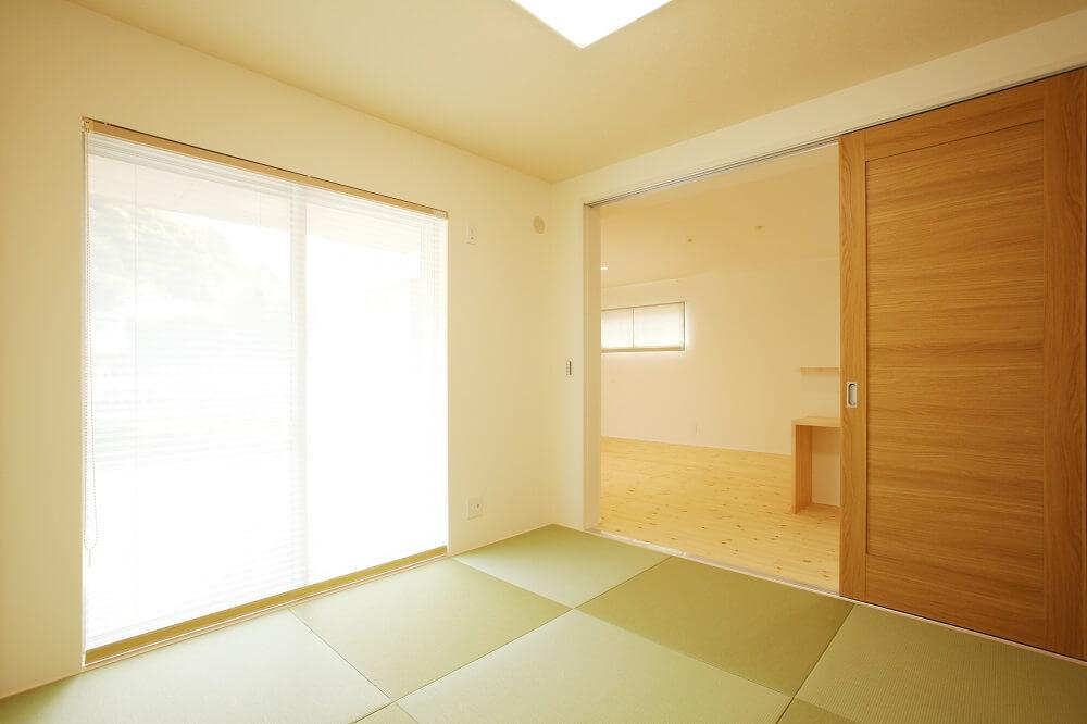 和室はLDKと一緒に使用する事も、扉を閉めて客間としても使用する事も出来る間取りにしました。